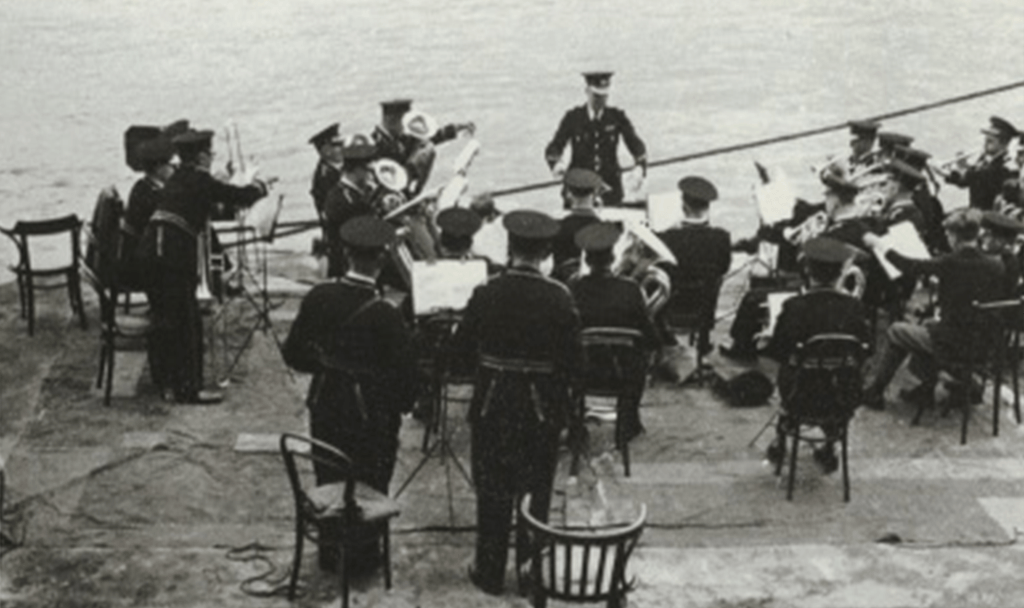 1954 Playing for the Queen by Tower Bridge